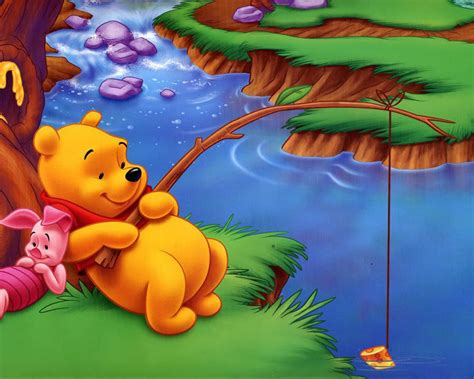 winnie  pooh  piglet river fishing  fish cartoon