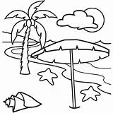 Coloring Pages Beach Tropical sketch template