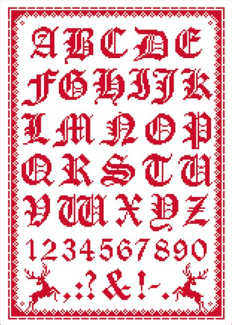 lindners kreuzstiche folklorealphabet rot themen