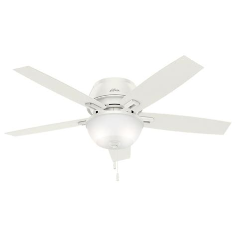 low profile white ceiling fan hunter donegan 52 in led indoor low profile fresh white