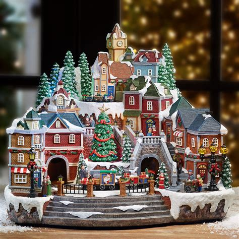animated christmas village with train 14 5 quot led winter with rotating and d ebay