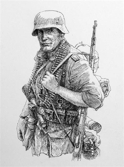 soldier drawing pencil sketch colorful realistic art