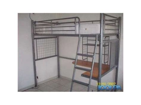lit mezzanine 140 avec bureau lit échelle métal gris clasf