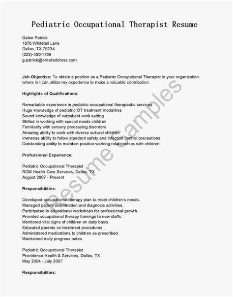 Pediatric Occupational Therapist Resume by Use This Free Sle Pediatric Occupational Therapist Resume With Objective