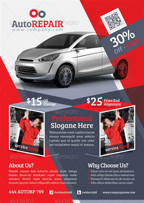 automobile repair flyer template  grafilker graphicriver