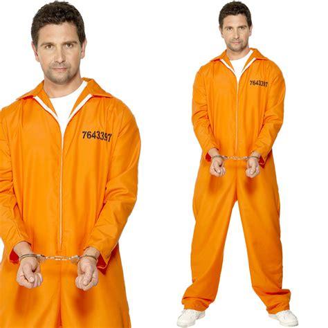 prison jumpsuits mens convict fancy dress costume orange prison jumpsuit