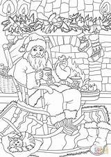 Santa Coloring Claus Pages Fireplace While Cookie Front Christmas Drinking Tea Soaking Drawing Gifts Printable Mickey Merry Dot Mouse Print sketch template