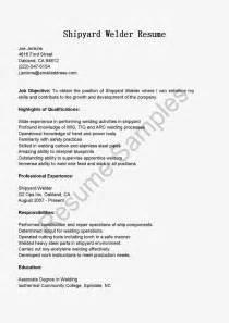 Welding Resume Cover Letter by Resume Sles Shipyard Welder Resume Sle