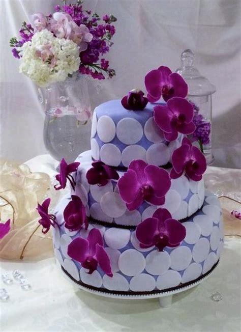 tier light purple  wedding cake  white circles