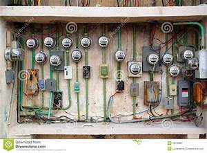 Electric Meter Messy Electrical Installation Stock Image
