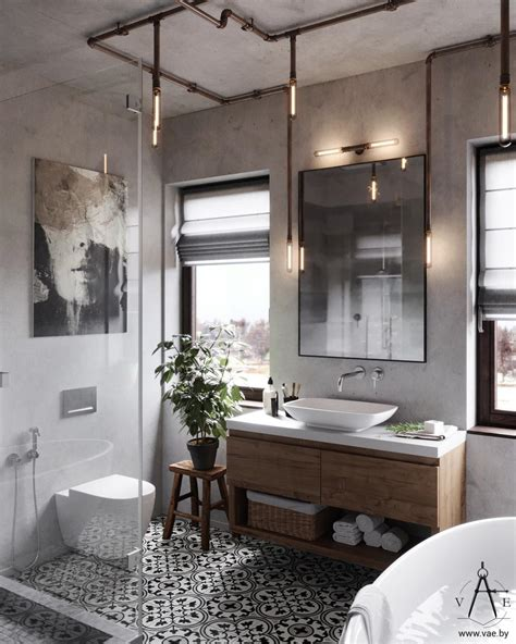 Modern Industrial Bathroom Ideas by Warm Industrial Style House With Layout