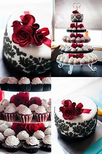 Black Damask and Red Roses - Wedding Cake and Cupcakes ...