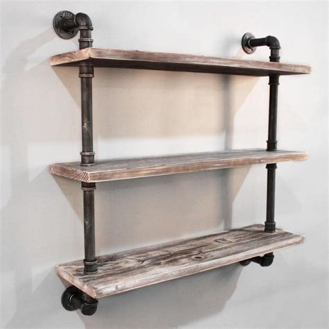 3 level rustic industrial timber pipe shelf 92cm buy wall shelves hooks