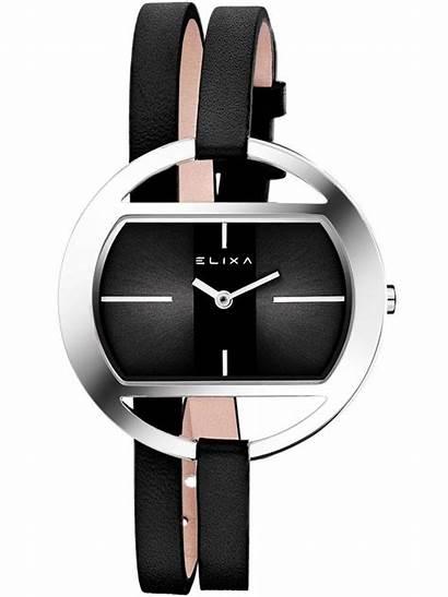 Montre Femme Bracelet Cuir Noir Elixa Double