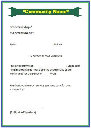 sample community service letter  high school student