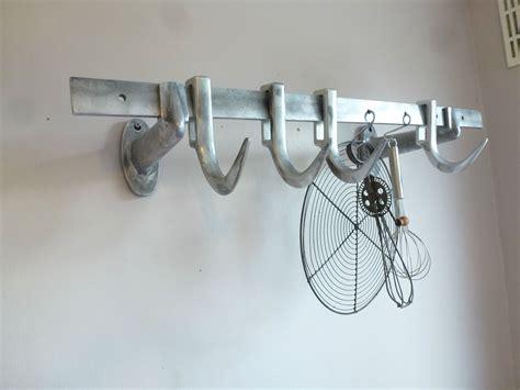 vintage german metal butchers meat hooks rail display holder rack industrial ebay meat