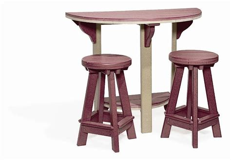 Semi Circle Patio Table by Poly Bar Set With Stools From Dutchcrafters Amish Furniture