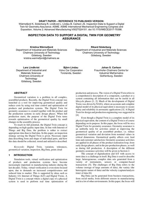 (PDF) Inspection Data to Support a Digital Twin for