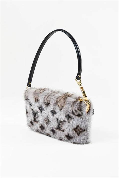 louis vuitton gray brown black mink fur monogram milla mm