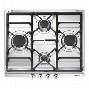 Plaque de cuisson gaz 4 foyers, inox, SMEG S60GHS Leroy