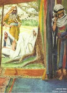 Genesis 18 Bible Pictures: Sara laughing at the three ...