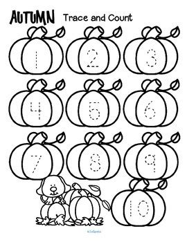 Fall Numbers Trace And Count By Kidsparkz  Teachers Pay Teachers