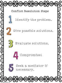 conflict resolution steps poster   sarah burk tpt