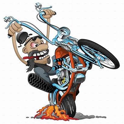 Biker Motorcycle Cartoon Crazy Chopper Vector Illustration