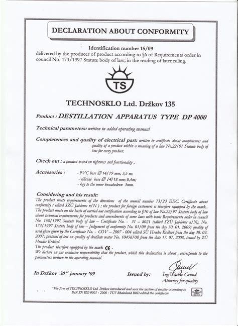 declaration  conformity technosklo