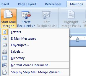 creating mail merge letters  word