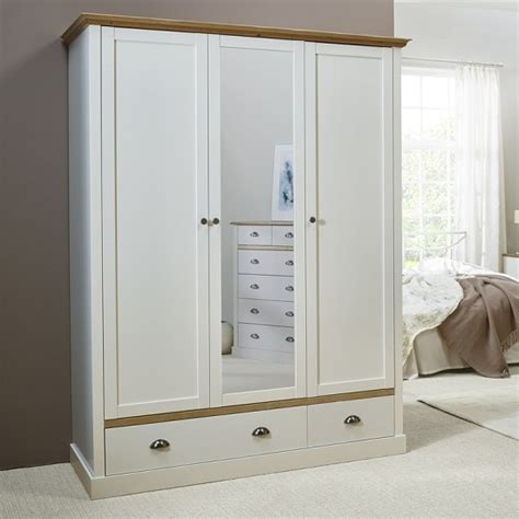 Mirrored Wardrobes For Sale by Marina Mirrored Wardrobe In White Pine With 3 Doors