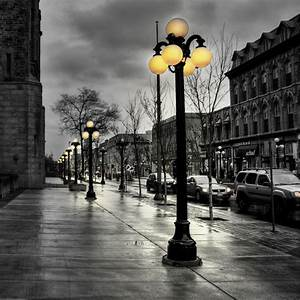 2048x2048, Wallpaper, Street, City, Evening, Black, White, Lights, Buildings, Hdr