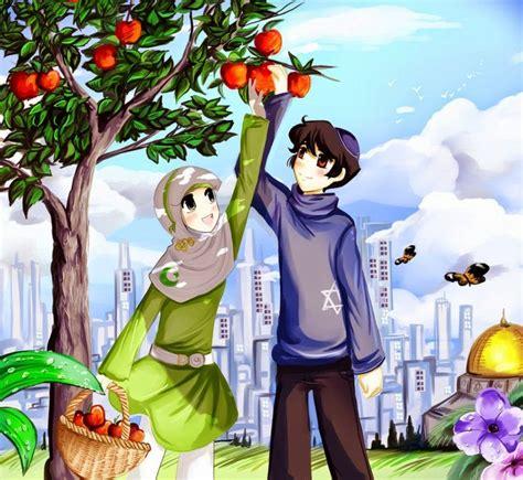 gambar anime islam romantis koleksi gambar kartun muslim berpasangan