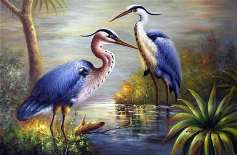 Great Blue Heron Egret Birds Pair Large Oil Painting(china