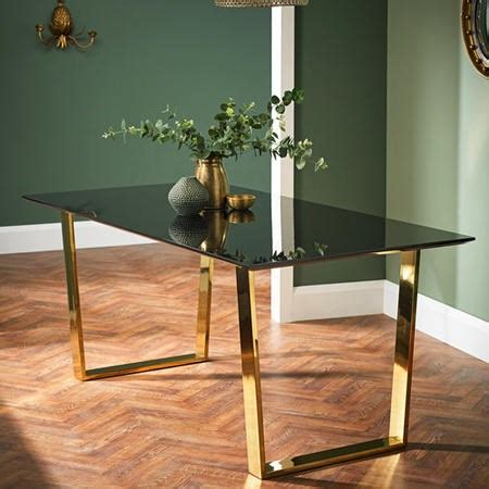 lpd antibes black high gloss dining table  polished