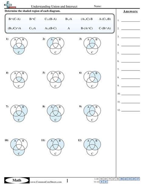 math worksheets on union and intersection of sets