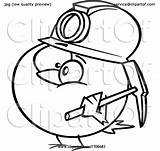Coal Cartoon Miner Canary Toonaday Clipart sketch template