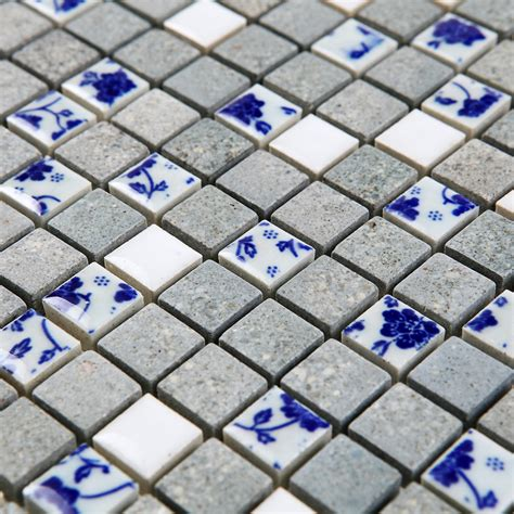 ceramic blue and white porcelain mosaic kiln tiles mosaic
