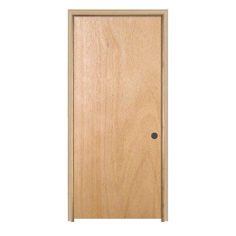 home depot doors interior jeld wen 32 in x 80 in woodgrain flush unfinished hardwood single prehung interior door with