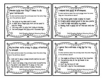 multiple meaning words sat  task cards  images