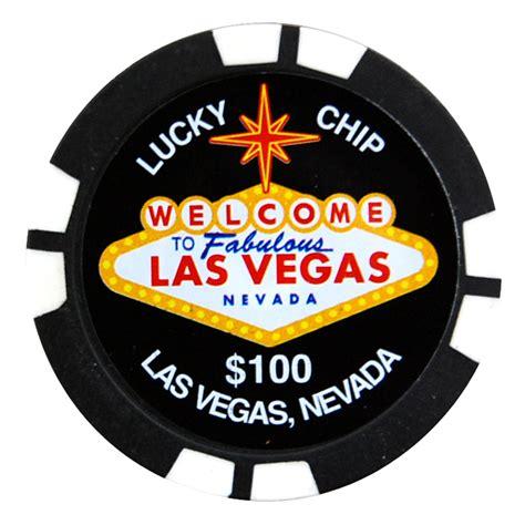 las vegas  lucky poker chip magnet black