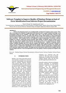 Pdf  Software Template To Improve Quality Of Database