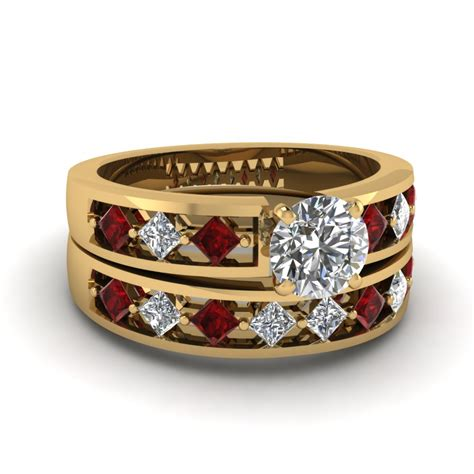kite setting cut diamond wedding ring with ruby in 18k yellow gold fascinating diamonds