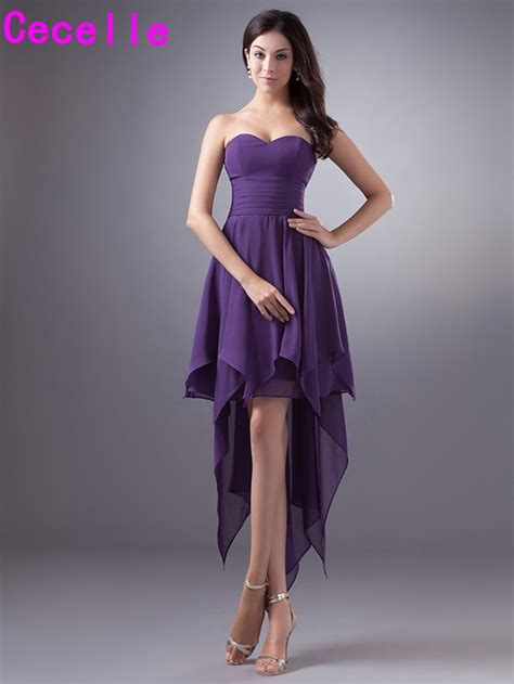 purple short high  chiffon bridesmaid dresses cheap