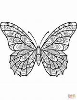 Butterfly Coloring Pages Zentangle Moth Butterflies Printable Drawing Patterns Sheets Mandala Templates Colouring Adults Adult Printables Supercoloring Animals Pattern Insect sketch template