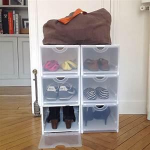 Petit Rangement Chaussures : bo te rangement chaussures plastique empilable ~ Teatrodelosmanantiales.com Idées de Décoration