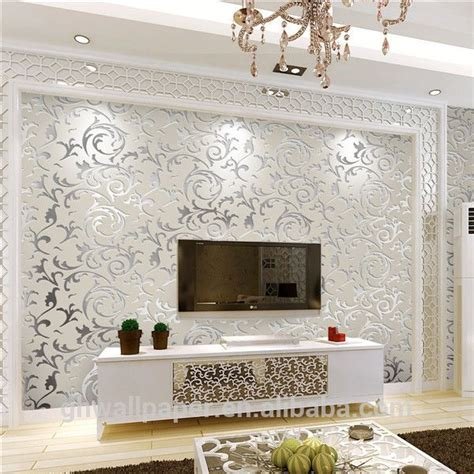 Wallpaper Design For Home Interiors by Wall Paper Design Home Decor 3d Wallpapers Silver Metallic