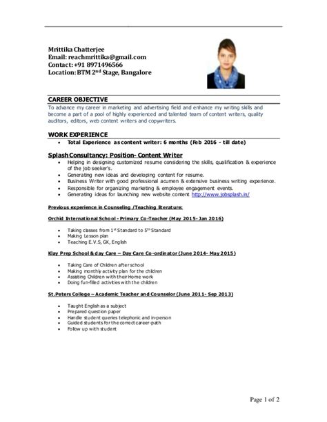 What Is Meant By Resume Content by Mrittika Content Writer Resume 2016