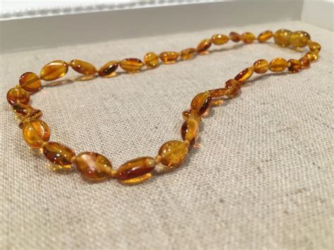 Polished Honey Bean 11 Baltic Amber Necklace Teething