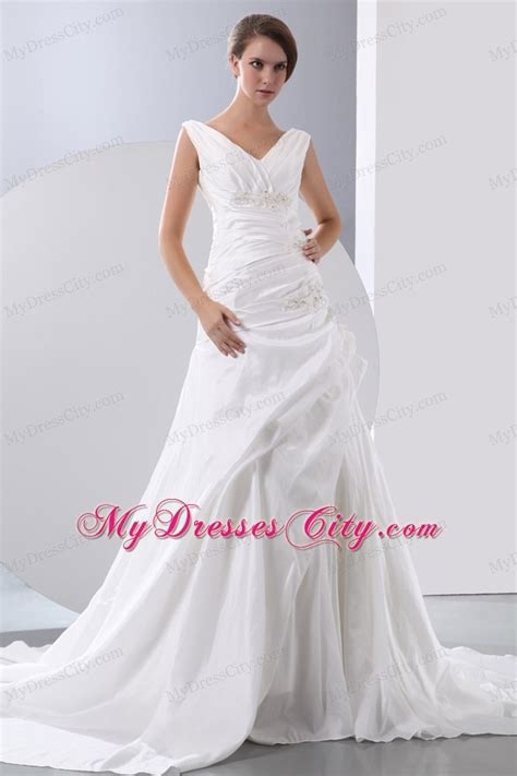 hot   appliques  beading ruched  neck wedding